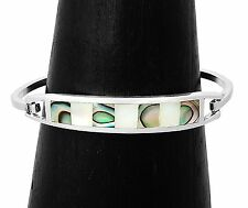 Abalone and Mother of Pearl Silver Cuff Bracelet Jewelry Taxco Mexico