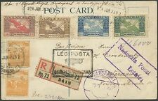 HUNGARY #363 (2), #C6-C9 ON REGISTERED POSTCARD TO WARSAW, POLAND BS1344