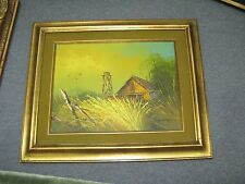 """Signed Oil on Canvas Painting Log Cabin 12"""" x 16"""" - 18"""" x 22"""" Framed"""