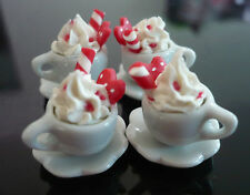 4 Cups of Cappuccino with Cane Red Heart Dollhouse Miniatures Food Valentines