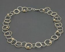 """18"""" Two-Tone Sterling Circle Link Chain Necklace with Bead Accents 16.6 Grams"""