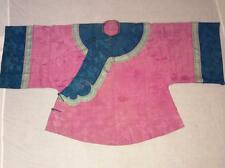 ANTIQUE 19/ 20th c QI'ING CHINESE PINK DAMASK SILK LADY ROBE JACKET EMBROIDERED!
