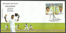 INDIA 2013 SACHIN TENDULKAR 200th CRICKET TEST MATCH 2v Official FIRST DAY COVER