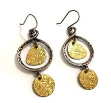 Rare!! Silpada Textured Sterling Silver With Brass Disc Dangle Earrings - W2060