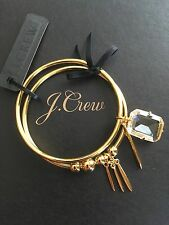 NWT J Crew Bangle Charm Bracelets (set of 2) #F6511 With J Crew Jewelry Bag