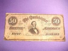 Scarce Civil War 1864 Richmond Va Csa Confederate $50 Dollar Note #M941