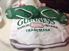 NWT Guinness Tote  Bag With Guinness Flip Flop Sandals Sz 7 8  White Green Pink