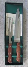 "Maxam Steel Carving Knife and Fork Set Meat 9"" Blade Wood & Steel Handles in Box"
