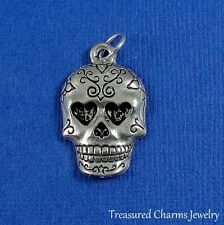 SILVER SUGAR SKULL CHARM Mexican Day of the Dead PENDANT