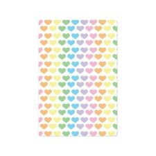 Kindle Fire Folio Case White w/ Rainbow Pastel Hearts New