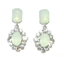 Silver Mint Green Faux Opal Earrings Diamante 1920s Drop Stud Chandelier 1111