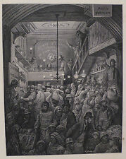 Doré - London; Billingsgate - Early Morning', Antique Wood Engraving, C.1870