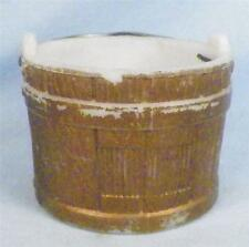Antique Match Holder Wooden Pail White Milk Glass Gold Paint Wire Handle As Is