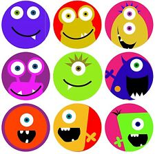 144 Monster Faces 30mm Children's Reward Stickers for Teacher, Parent
