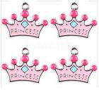 Wholesale Pink Princess Crown Enamel Metal Charms Jewelry Making Pendants H01