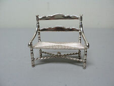 """NICE VINTAGE DUTCH .833 SILVER MINIATURE DOLL HOUSE SETTEE BENCH w/ """"RUSH"""" SEAT"""