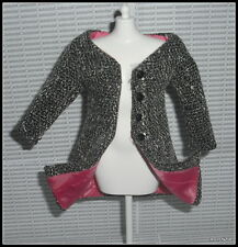 TOP MATTEL BARBIE  SILKSTONE DOLL A MODEL LIFE BLACK WHITE WOVEN JACKET COAT TOP