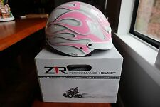 New Z1R Nomad Half Helmet Pink Ghost Flames X-Large XL 0103-0230