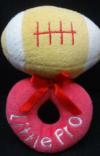 """Little Pro Football Infant Baby Rattle Red Tan White Soft Plush 5"""" Toy"""