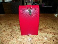 *NWOT* ~ Wolf Designs Crocodile Leather Red Jewelry Box/Travel Case