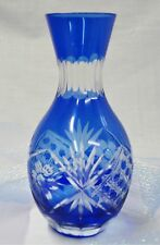 Cobalt Blue Hand Cut Glass Floral Bud Vase with a Rounded Bottom.