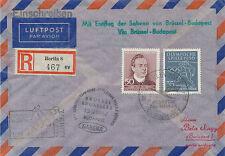 "2415 DDR 1957 Erstflug Sabena ""BRÜSSEL – BUDAPEST"", extrem selt. MITLÄUFERPOST"