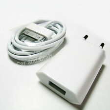 Genuine Apple iPhone 4 4S 4GS EU Charger Adapter+USB Cable A1300/A1400 Original
