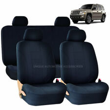 SOLID BLACK DOUBLE STITCH SEAT COVERS 8PC SET for JEEP PATRIOT
