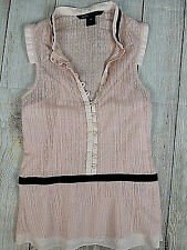 Marc Jacobs Sz 4 Blouse Pink Lace Velvet Ribbon Trim Layered Tank Flower Button