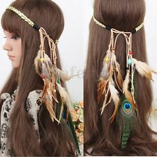 Festival Bohemia Peacock Feather Headband Boho Gypsy Headdress Hippie Hairband