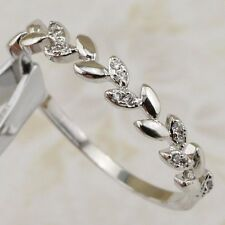 Size 8 Cute Nice Leaves White CZ Gems Jewelry Gold Filled Woman Ring R2597-15