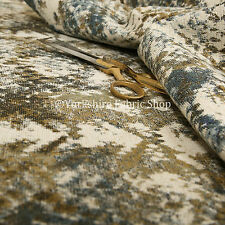 Abstract Camouflage Design Pattern Beige Blue Green Chenille Upholstery Fabric