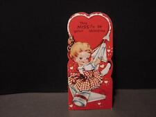 Vintage 1960 Valentine:Girl in Gingham Dress Riding a MISSILE/ROCKET Into Space