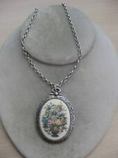 Estate Costume Sarah Coventry Country Flower Vase Pendant Necklace  22""