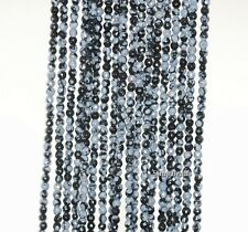3MM SNOWFLAKE OBSIDIAN GEMSTONE GRADE A FACETED ROUND 3MM LOOSE BEADS 15.5""