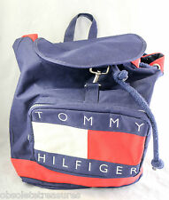 Vintage Tommy Hilfiger Small Backpack Knapsack 1990s Red Blue