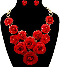 Red Bloomed Rosebud Floral Flower Rose Gold Chain Statement Necklace Earrings