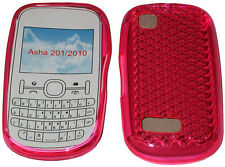 For Nokia Asha 201 / 2010 Pattern Gel Case Cover Protector Pouch Pink New UK