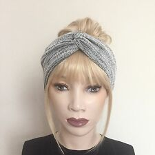 Light grey wool knitted turban twist headband winter cosy hair band boho hipster