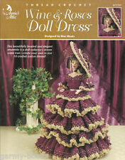 Wine & Roses Doll Dress Beaded Crochet Barbie Fashion Gown Clothing Patterns NEW