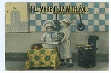 """I'll Make it Up to You"" Cute Kids Baking Bread Rolls Antique PC ca. 1910s"