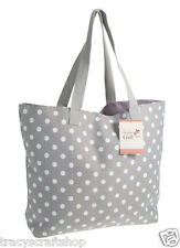 Tote Bag Knitting Bag Craft Bag 100% cotton - Grey Spot 60x50x15cm  inc handles