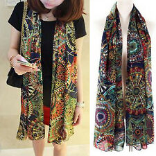 CHIC Women Fashion Chiffon Floral Silk Long Neck Scarf Shawl Stole Wraps Scarves