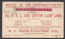 1908 IRISH ELECTRIC NY, SELLS LAMP CORDS, ELECTRICAL SUPPLIES