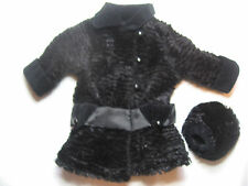 AMERICAN GIRL DOLL REBECCA'S BLACK FUR WINTER COAT & MUFF
