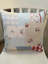 "Fryetts Vintage Blue Patchwork 16"" Shabby Chic Cushion Cover Handmade"