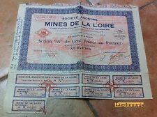 Mines de la Loire Action de 100 Francs au porteur Paris