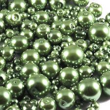 Lot de perles Nacrées en verre 4-12mm Mix Vert Olive 100g
