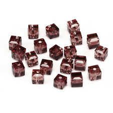 20pcs In purple 6mm Faceted Square Cube Cut glass crystal Spacer beads