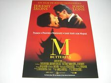 AFFICHE PROMO VIDEO CLUB--M BUTTERFLY--IRONS/LONE/CRONENBERG